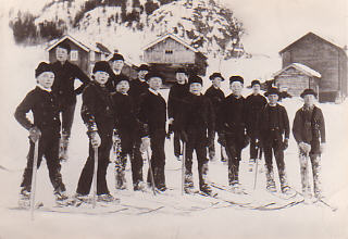 historical photo of skiers